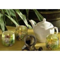 N-6613 Свеча в стакане ароматизированная Зеленый чай