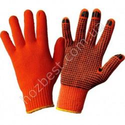 N-62 Перчатка ХБ оранжевая с ПВХ точкой (700грамм)