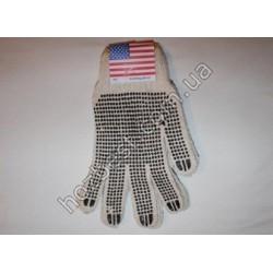 N-1141 Перчатка ХБ с ПВХ точкой Америка (двухсторонняя)