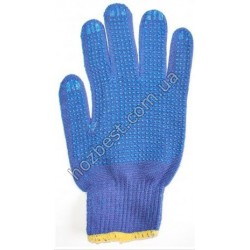 N-1256 Перчатка синтетическая с ПВХ точкой синяя с голубой точкой